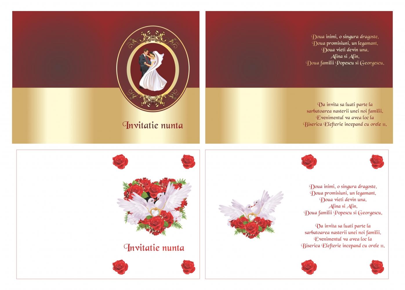 invitatii de nunta, meniuri nunta, plicuri bani